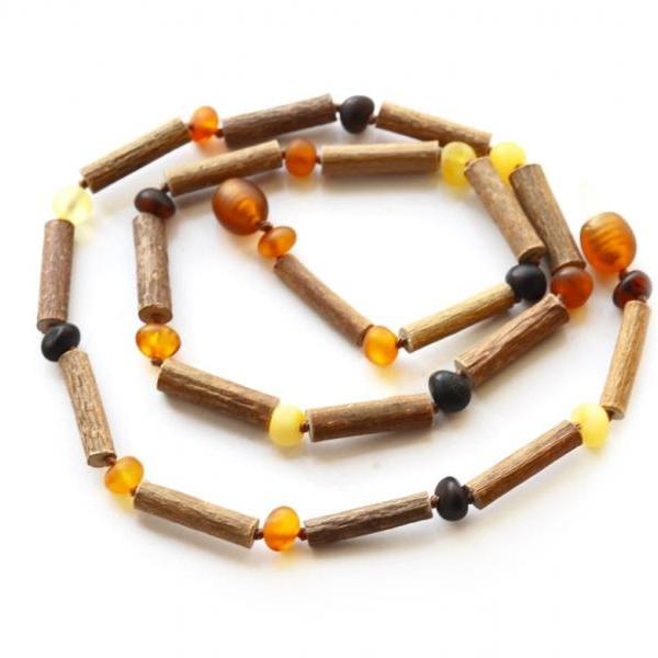 Hazelwood Baltic amber necklace for adults, Hazelwood wood necklace with baroque amber, adults healing necklace, 4347